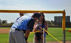 Tampa Bay Rays Spring Training - James Loney with Son and Wife Nadia, Port Charlotte, Fla., Feb. 23, 2014