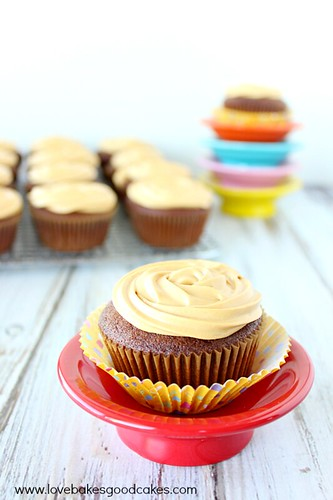 Mexican Chocolate Cupcakes with Dulce de Leche Cream Cheese Frosting. Cup cake on red plate close up.