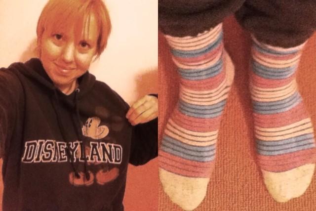 mental health day selfies, Disneyland sweatshirt and striped socks