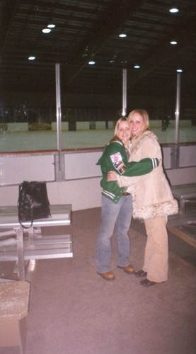 Brittny & Carissa at hockey game in OKC