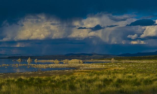 Mono  Lake rainstorm