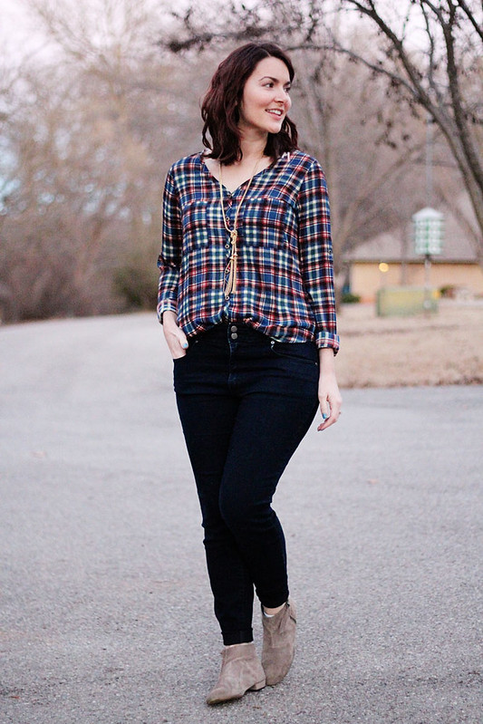 plaid-blouse-high-waist-jeans-tassel-necklace1