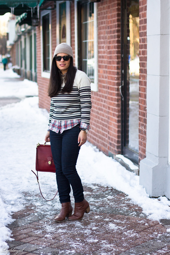 stripes and plaid, red coach bag, beanie-1.jpg