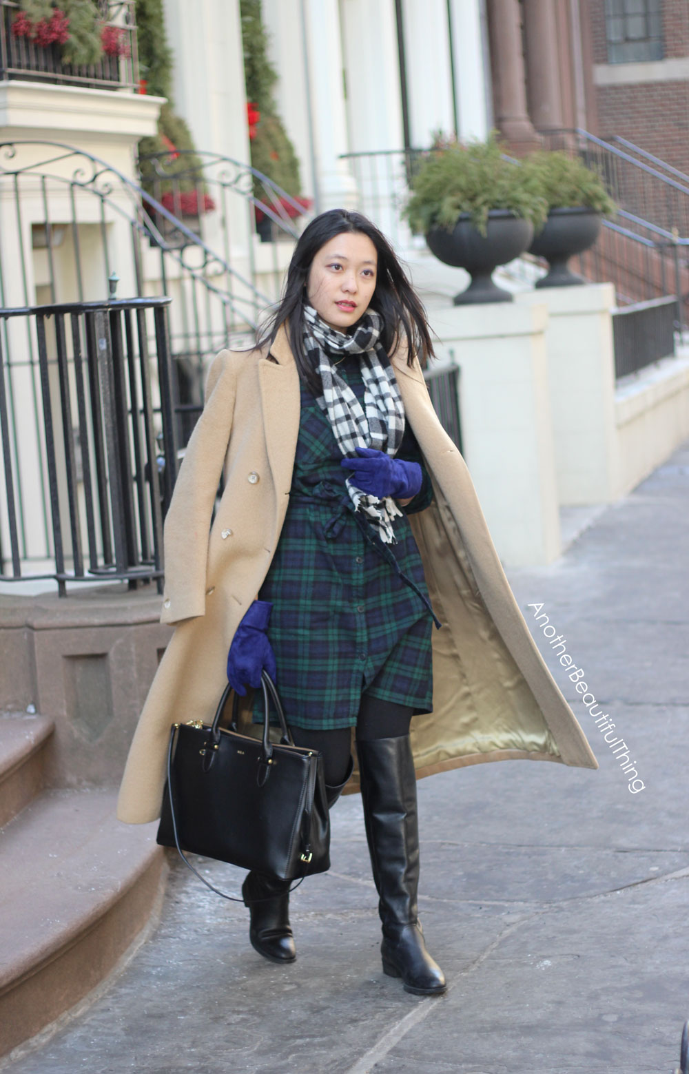 Double plaid - green and black plaid dress with camel coat
