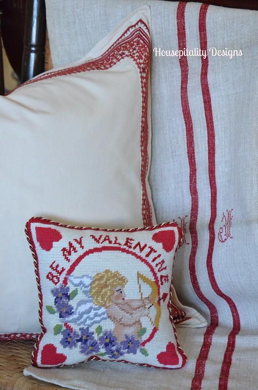 Vintage French Grain Sack/Needlepoint Pillow-Housepitality Designs
