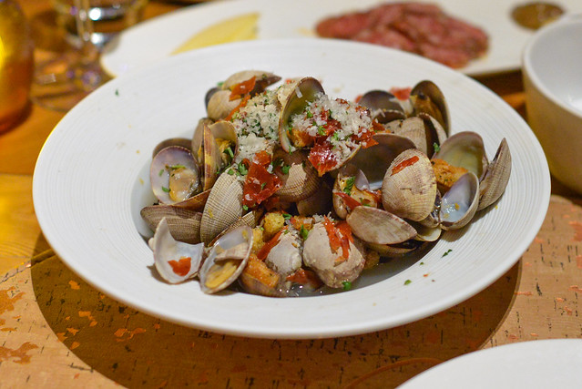 Clams Casino with herbed bread crumbs & crispy prosciutto