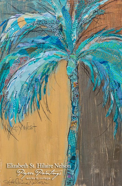 Palm Tree Collage Painting by Elizabeth St. Hilaire Nelson