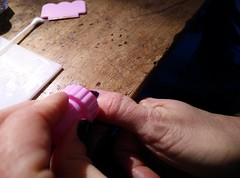 Roll stamp along nail
