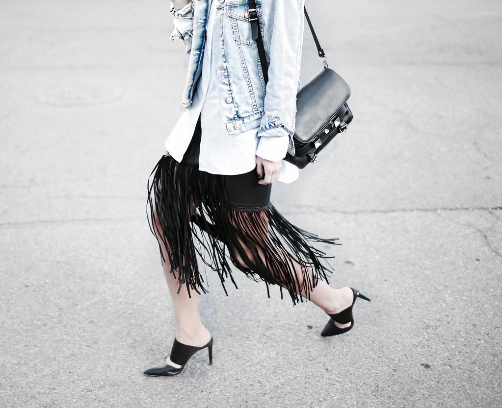 fringe leather skirt