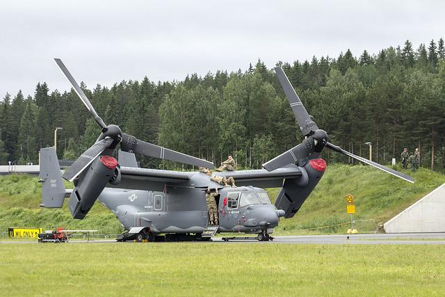 CV-22B Osprey with crew