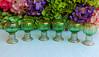 Vintage Moser Venetian Glass Wine Glasses Cordials Green Gold
