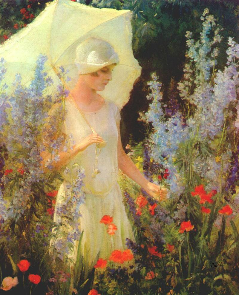 Blue Delphiniums by Charles Courtney Curran - Date unknown