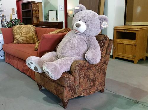 Bear $25, chair $150, sofa $250, tv stand $65