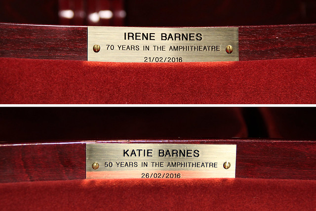 Seat plaques in the Royal Opera House auditorium (Amphitheatre U60 and V58) © 2016 ROH. Photograph by Beata Bowes