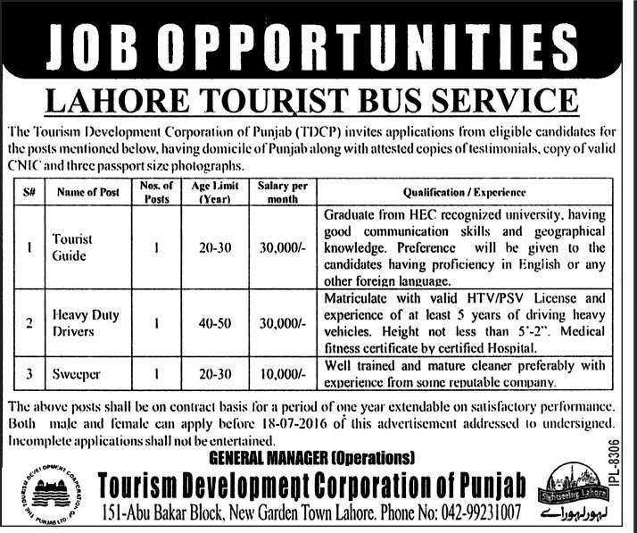 Tourism Development Coorporation Punjab Jobs