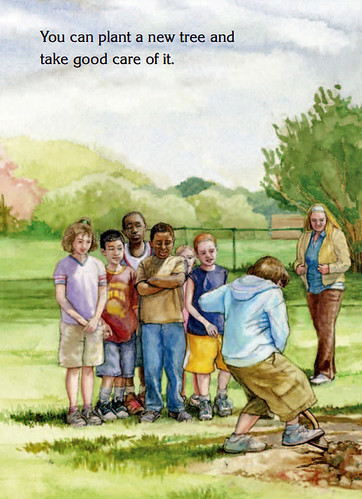 "At the end of the book, ""Why Would Anyone Cut a Tree Down?"" the illustration depicts children planting trees. (Illustration by Juliette Watts, U.S. Forest Service)"