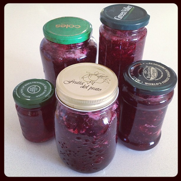 Possibly the last batch of Rosella jam for the season. These five, and the six in the store cupboard, should last us until jam making time next year. :) #rosellas #jam #homegrown #selfsufficiency