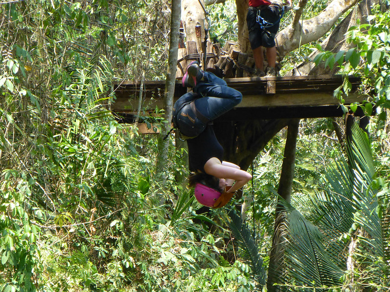 Ziplining upside-down