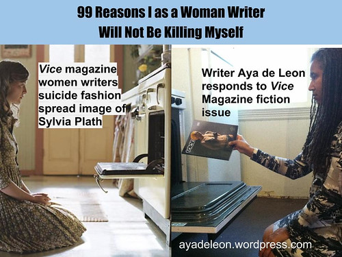 Aya de Leon feeding a Vice magazine into an oven, spoofing their photoshoot of Sylvia Plath