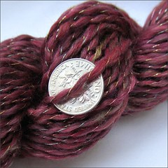 Red Fortune handspun, close up