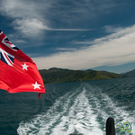 Flag on Queen Charlotte Sound - New Zealand