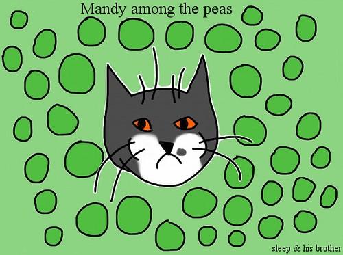 mandy among the peas