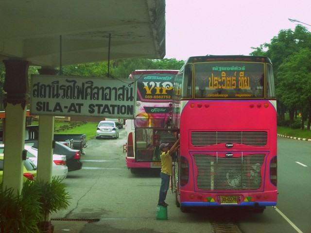 Coach buses at Sila-at station ready to take us the rest of the way to Chiang Mai after our train derailed.