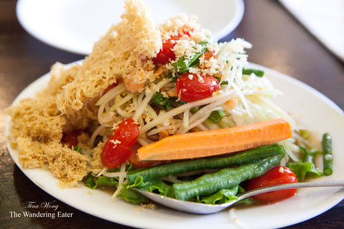 Papaya Salad with dried shrimp & crispy ground catfish