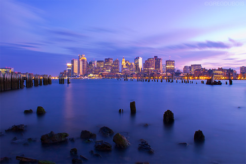 Boston Skyline during Blue Hour from Carlton Wharf East Boston, 2 Minute Exposure by Greg DuBois Photography