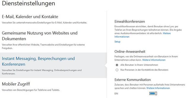 Diensteinstellungen: Externe Kommunikation auf EIN (Office 365)