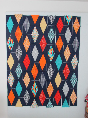 Diamonds Baby Quilt on the design wall