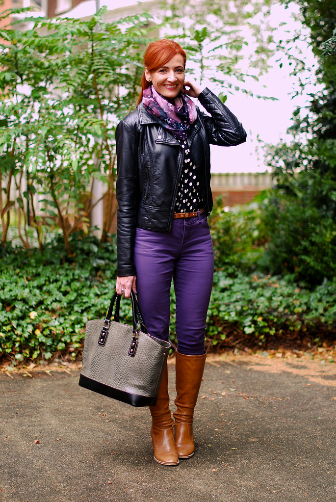 Biker jacket, purple skinnies & tan boots