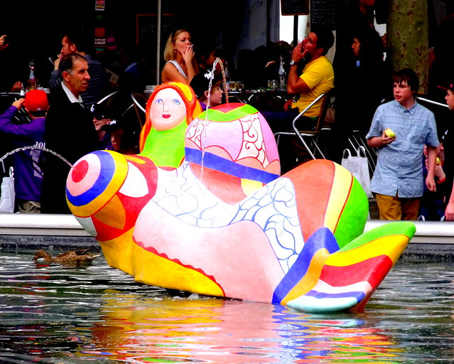 Niki de Saint Phalle sculpture at the Stravinsky Fountain - Paris, France
