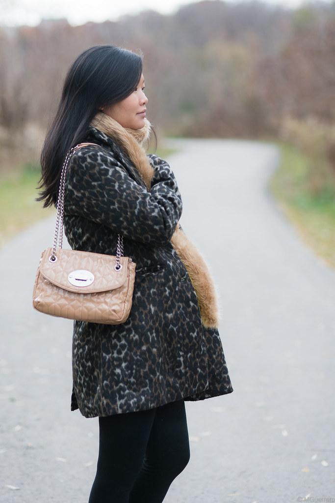 suzy shier leopard print coat, joe fresh faux fur stole, nine west purse