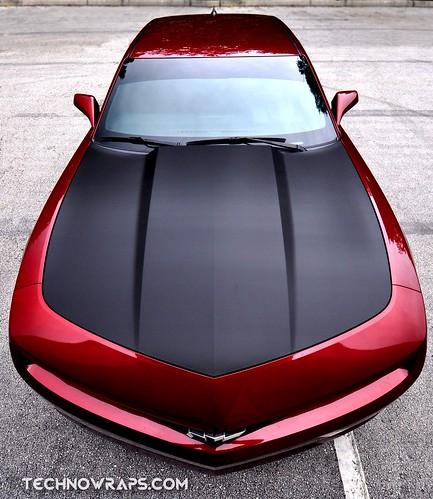 Chevy Camaro carbon fiber hood wrap