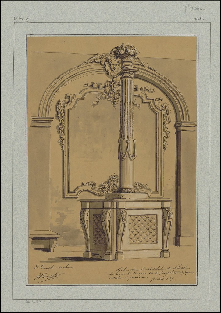 sketch of ornate pipe from heating stove or embellished vestibule pole in Rue de Braque hotel in 19th century Paris