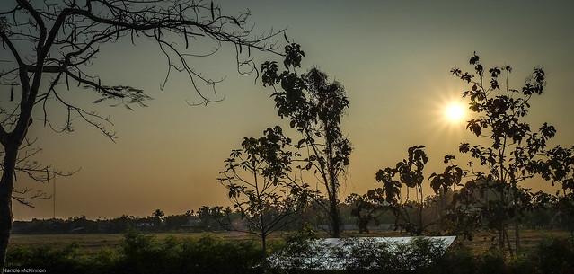 Sunset Begins Over the Rice Paddies, Doi Saket, Thailand