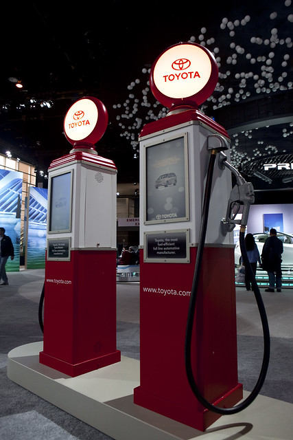 old-fashioned style gas pumps at the Chicago Auto Show