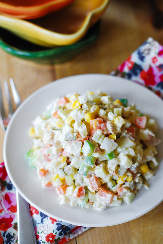 Potato salad with tuna - Olivier Salad, olivie salad, Russian food ...