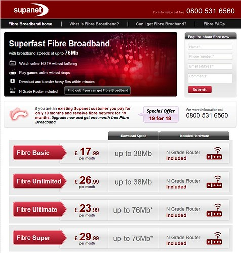 supanet fibre broadband homepage