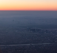 Overflying Paris at sunrise