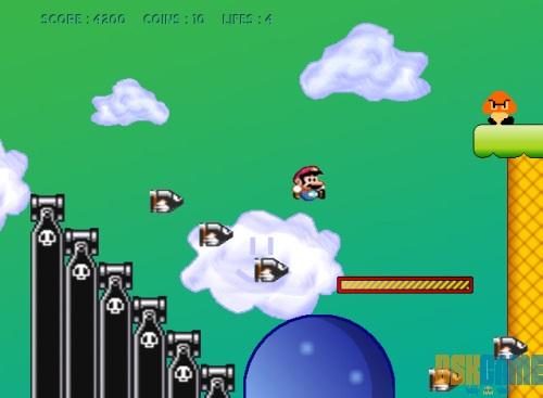 Mega Mario, escapando de los enemigos