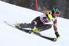 Phelan in action during the slalom at the FIS Alpine World Cup in Are, Sweden