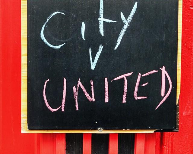 City v United sign #walkingtoworktoday