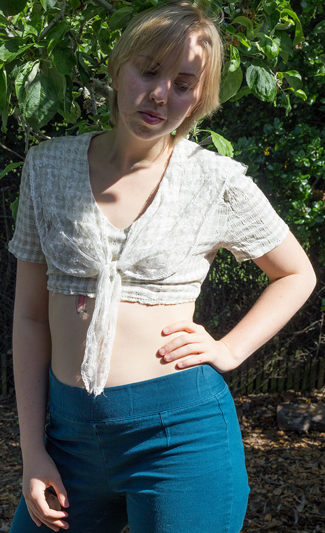 crop top with vintage lace sailor collar, high-waisted teal pants
