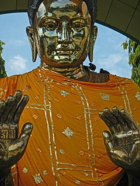 Brass Buddha at the Pagoda of the Hair Relic in Yangon