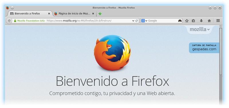 Nueva versión del navegador Firefox 29