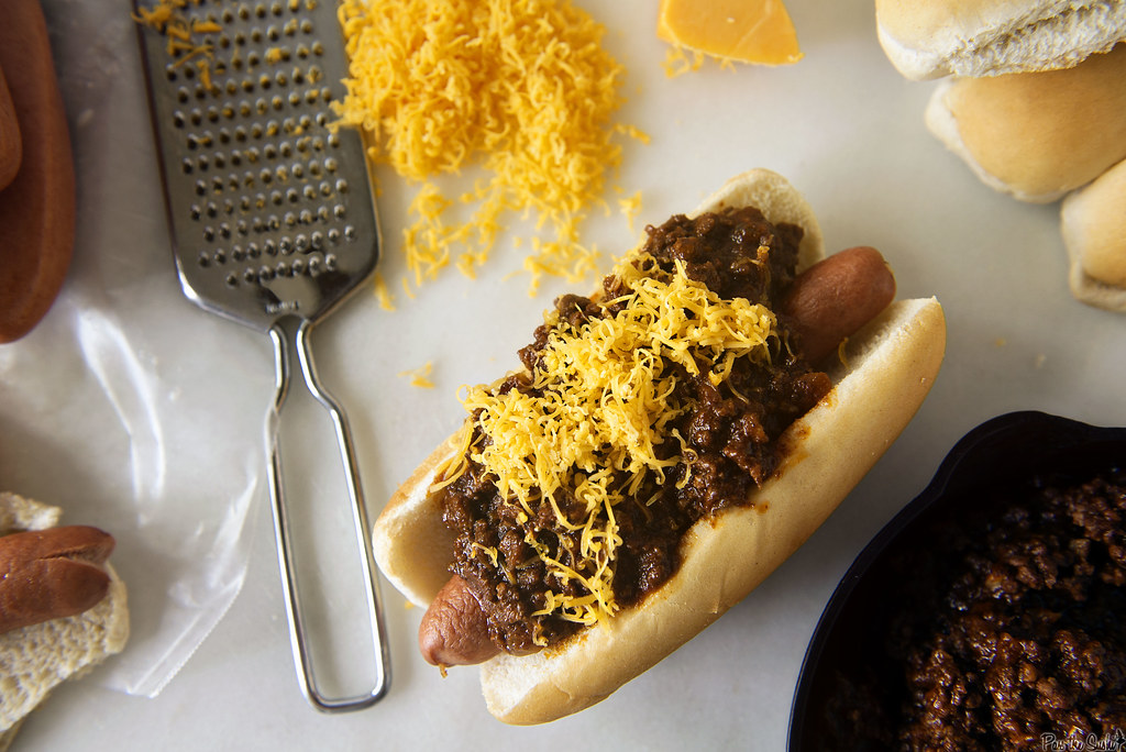 Chili Cheese Dog with Spicy Southwest Hot Dog Chili  Girlcarnivore.com