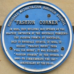 Photo of Rochdale Pioneers blue plaque