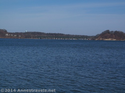 Irondequoit Bay Bridge from the dock in Abraham Lincoln Park, Webster, New York